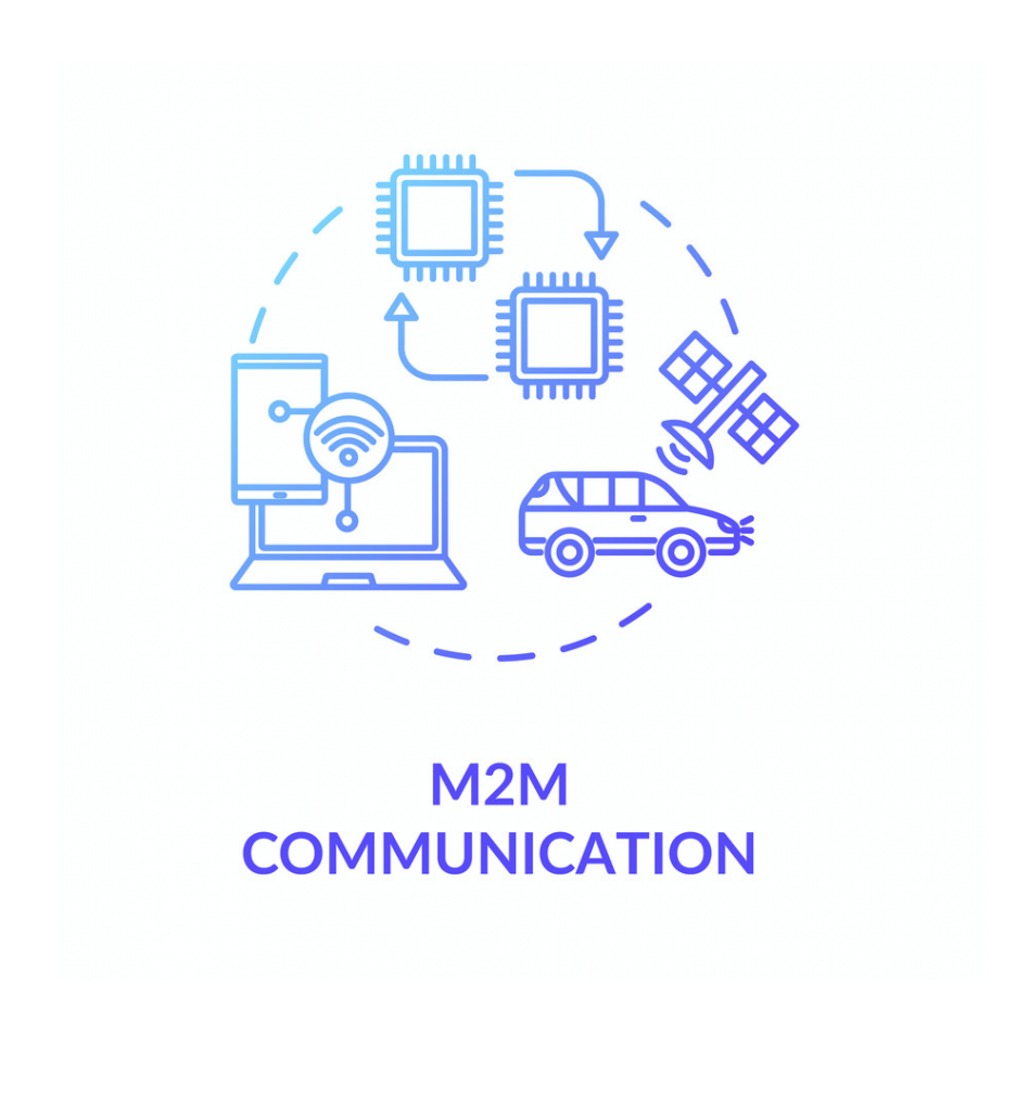 M2M communication blue gradient concept icon. Remote connection for technology. Wireless information exchange between devices idea thin line illustration.